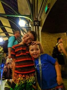 Taylor Family on Platform 9 three quarters Wizarding World of Harry Potter Universal Studios Orlando 1