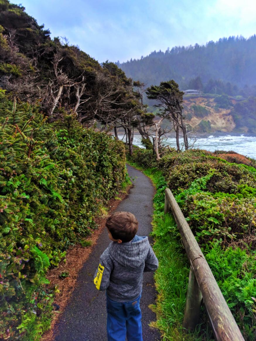 Taylor family hiking at Cape Perpetua Florence Oregon Coast 5