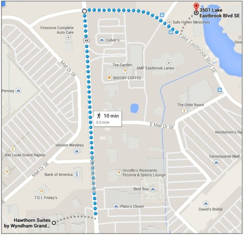 Map of the walk to Burcon Chiropractic from Hawthorn Suites