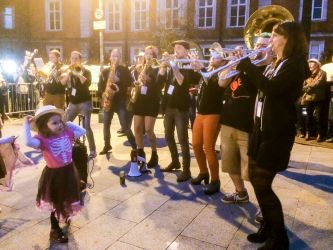 The Bare Brass Band performing in the streets of Cork during the festival