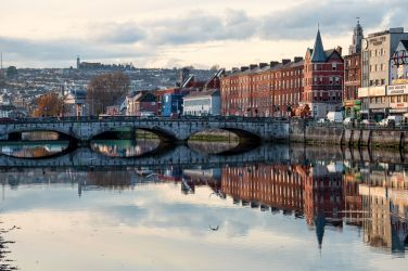 Cork cityscape reflection in the River Lee