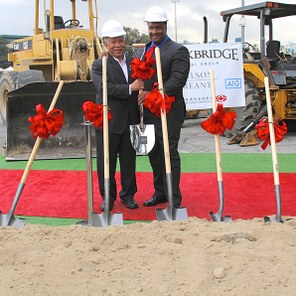 Former Inglewood Mayor Roosevelt Dorn and current Mayor James T. Butts Jr. at the Hollywood Park groundbreaking ceremony. (photo courtesy of KCRW)