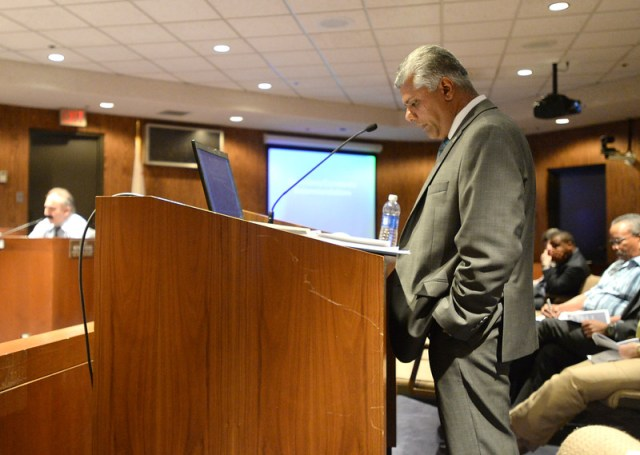 """""""Hawthorne Financial Director Ricky Manbahal, pictured, and Interim City Manager Arnold Shadbeher address the city council during a budget meeting about budget deficits Thursday, June 11, 2015, Hawthorne, CA.  Photo by Steve McCrank/Staff Photographer"""