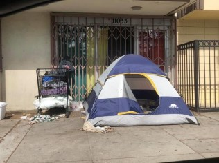 Homeless encampment in Inglewood's District 4 along Crenshaw Blvd & 111th Street. (photo: 2UrbanGirls)