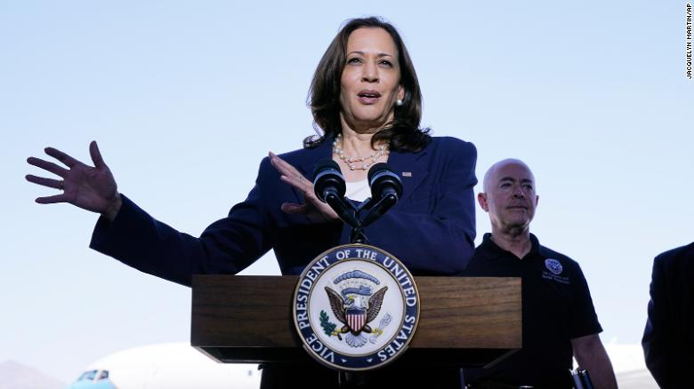 Vice President Kamala Harris talks to the media, Friday, June 25, 2021, after her tour of the U.S. Customs and Border Protection Central Processing Center in El Paso, Texas.  Harris visited the U.S. southern border as part of her role leading the Biden administration???s response to a steep increase in migration. (AP Photo/Jacquelyn Martin)