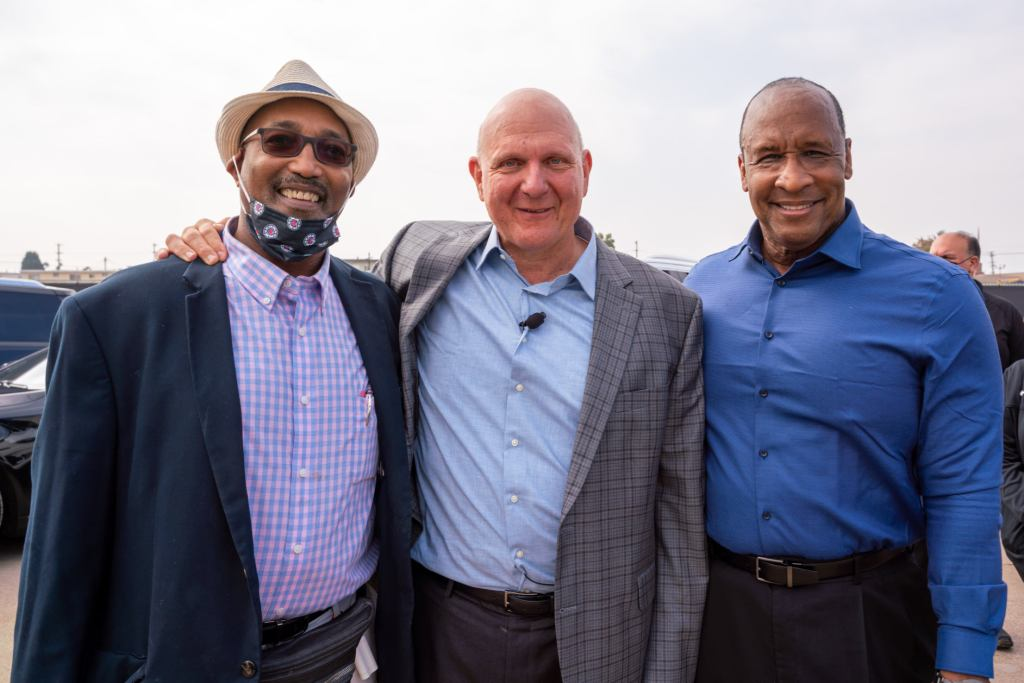 Inglewood attorney Royce K. Jones, Steve Ballmer, and Inglewood Mayor James Butts at the Clippers Arena groundbreaking ceremony September 17. (Credit: city of Inglewood)