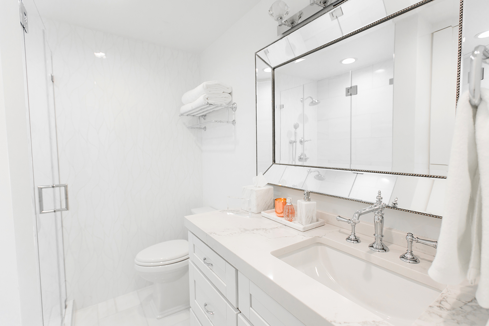 White Marble Bathroom Decor Ideas Home Redesign