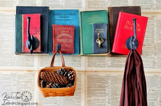 Books as Decoration Book Decor Home Library Coat Rack Hooks DIY Project Wall Art