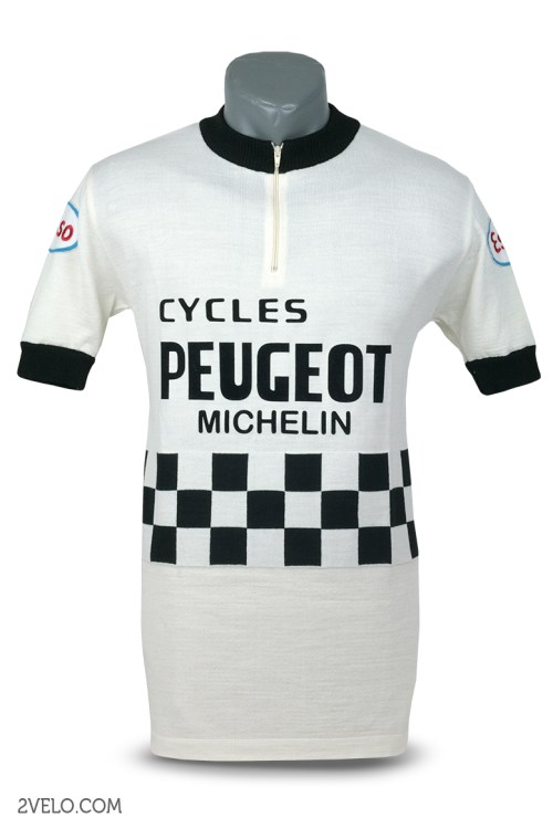Peugeot Esso Michelin, vintage retro cycling, maglia ciclismo 2velo