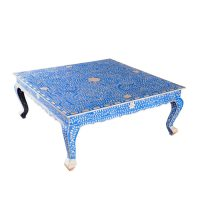 Blue Bone Inlay Coffee Table by Art of Old India Dallas, TX