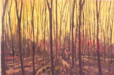 Schilderij van kale stammen met zonlicht