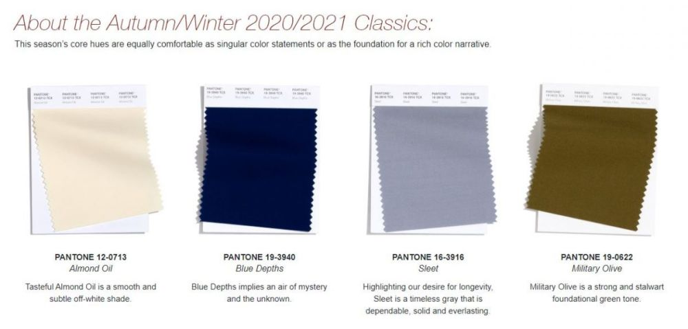 Pantone Reports NYFW Autumn/Winter 2020/2021 Color Trends ...