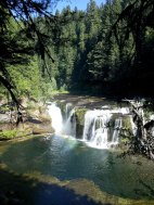 Lewis river Lower Falls with rainbow.