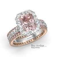 Halo Diamond Engagement Ring Set-Radiant Pink Diamond