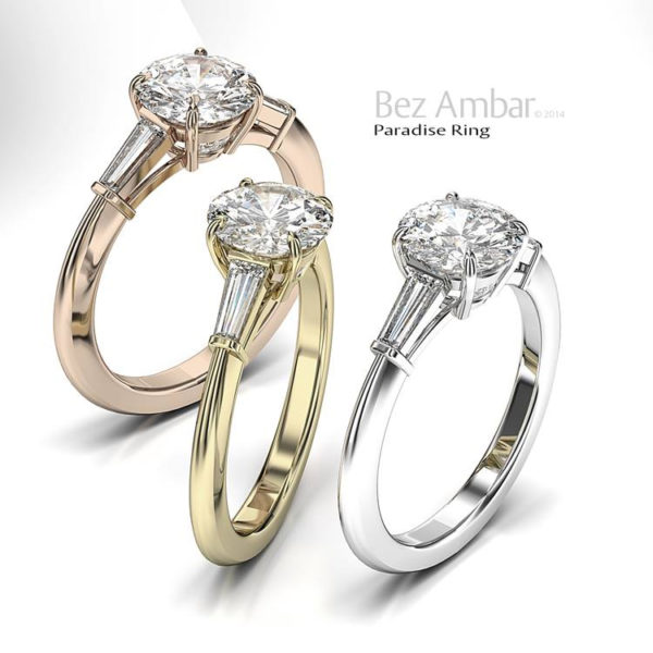 Trio Engagement Ring with Side Taper Baguettes