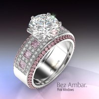 Diamond Pink Sapphire Engagement Ring Set