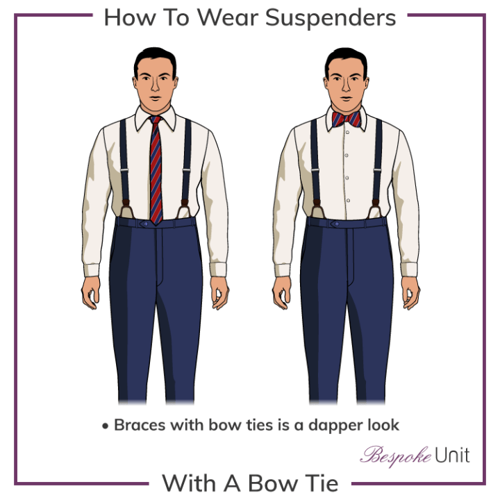 suspenders with necktie and bow tie