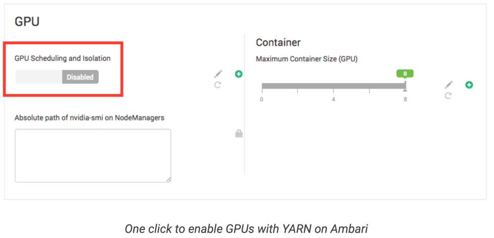 medium resolution of through ambari yarn ui config page a user just needs to switch two toggle buttons to enable disable gpu related features one is called gpu scheduling