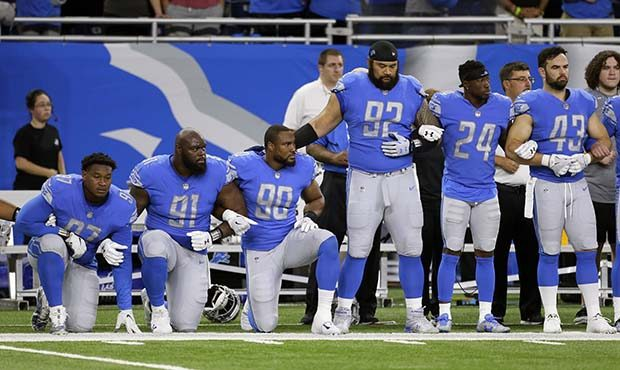 Lions during national anthem