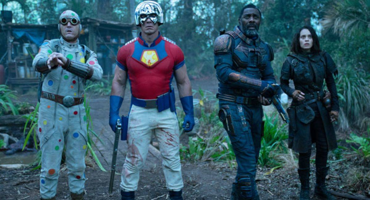 ??  The Suicide Squad ??  reboots the DC film series with a new cast featuring, from left to right, David Dastmalchian as Polka Dot Man, John Cena as Peacemaker, Idris Elba as Bloodsport and Daniela Melchior as Ratcatcher.  (Courtesy of Jessica Miglio / Warner Bros.)