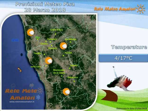 Previsioni meteo a Pisa: giornata senza pioggia ma nuvole in aumento