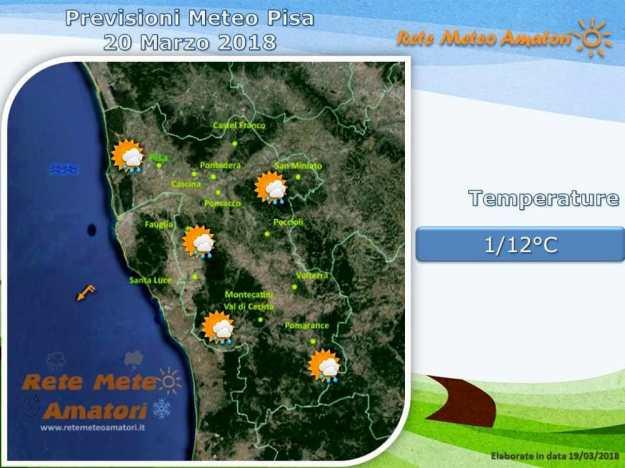Previsioni meteo a Pisa: dalle nuvole alla pioggia