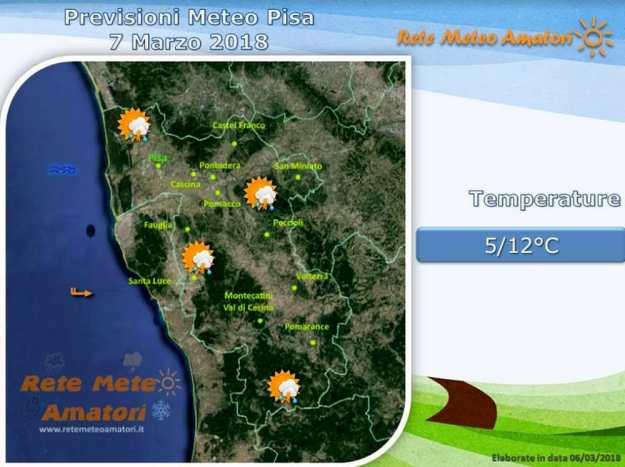 Previsioni meteo a Pisa: possibili piogge e temporali