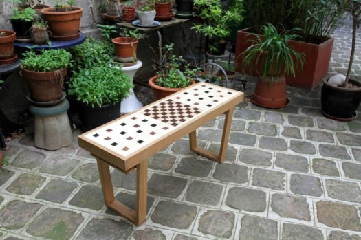 Congo Squares Bench: A Seat and Chess Board in One in style fashion home furnishings Category