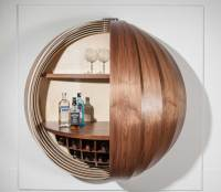 A Wall-Mounted Bar Cabinet Inspired by a Spinning Coin ...