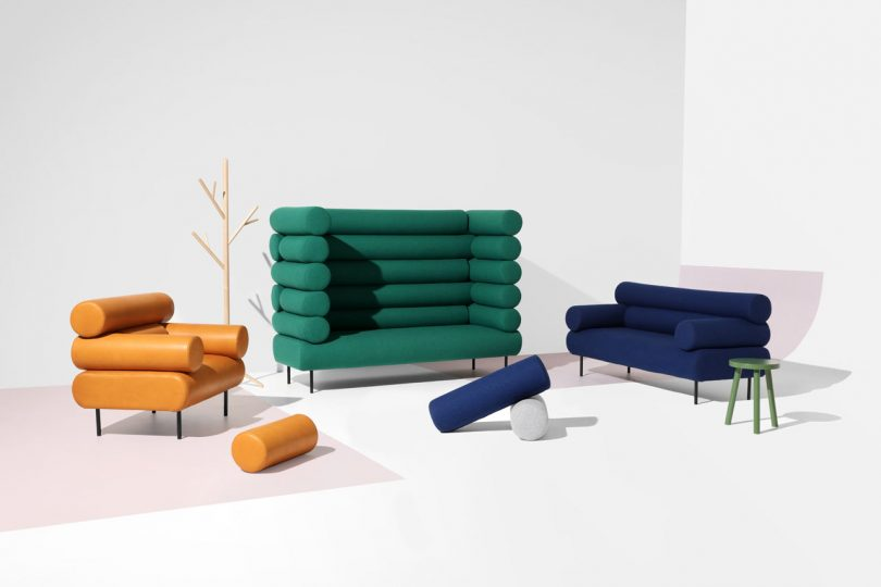 Playful Seating Inspired by Log Cabins