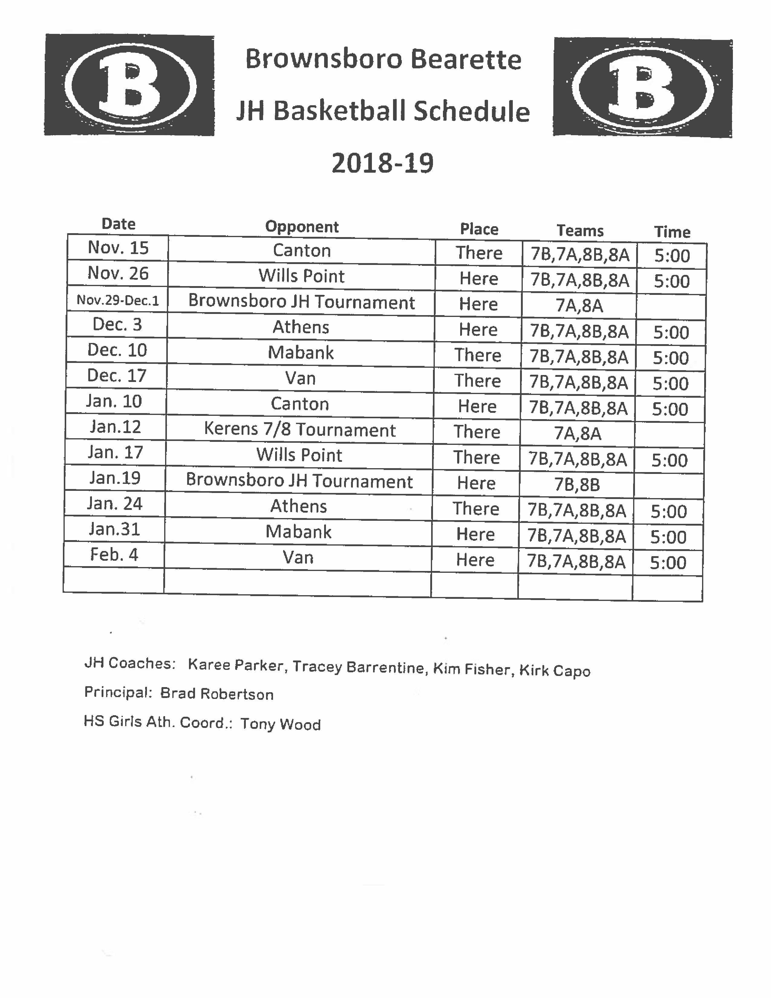 Girls Basketball Schedule – Athletics Pages