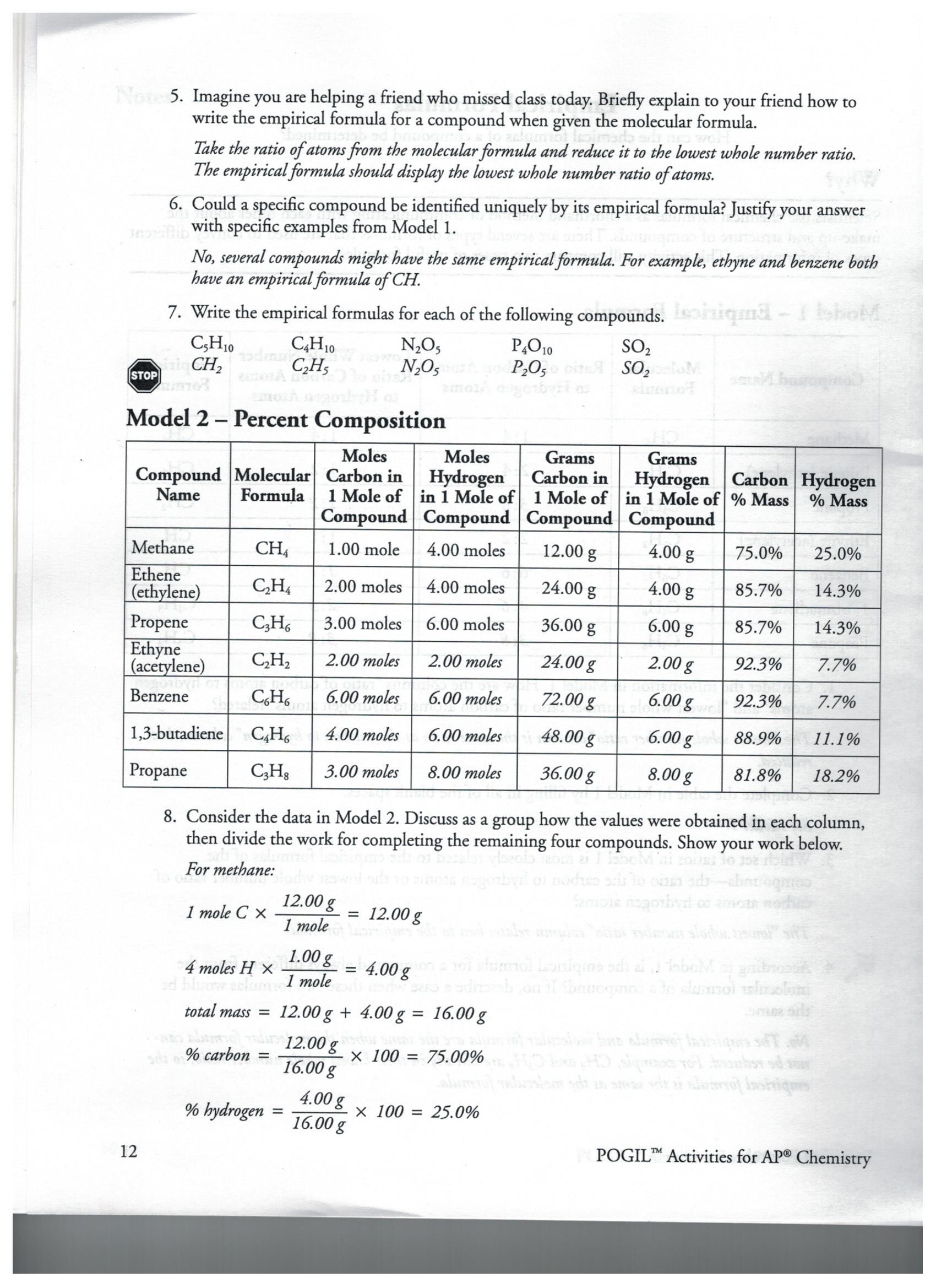Percent Yield Calculations Worksheet Answer Key