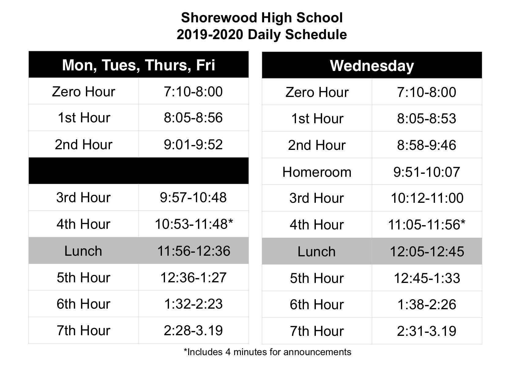 Bell Schedules Shorewood High School Shorewood School