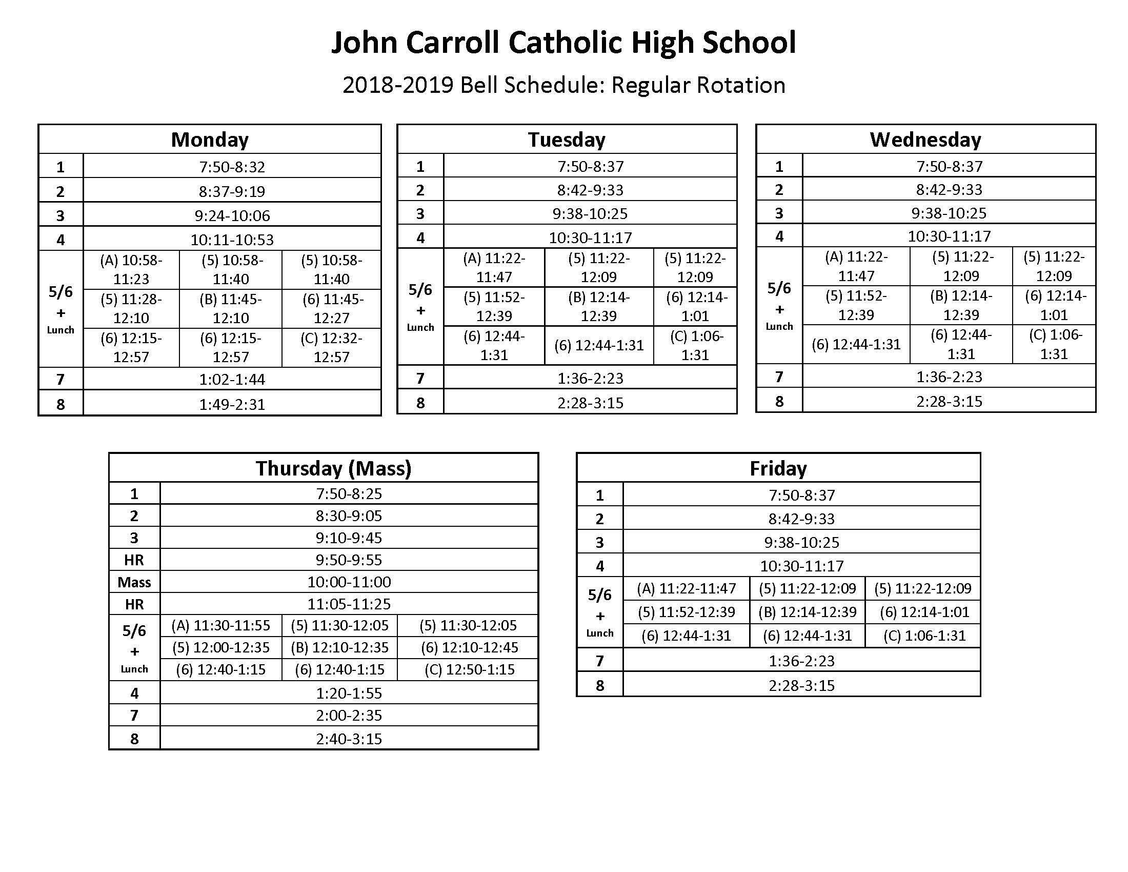 Bell Schedule & Summary Calendar – Students
