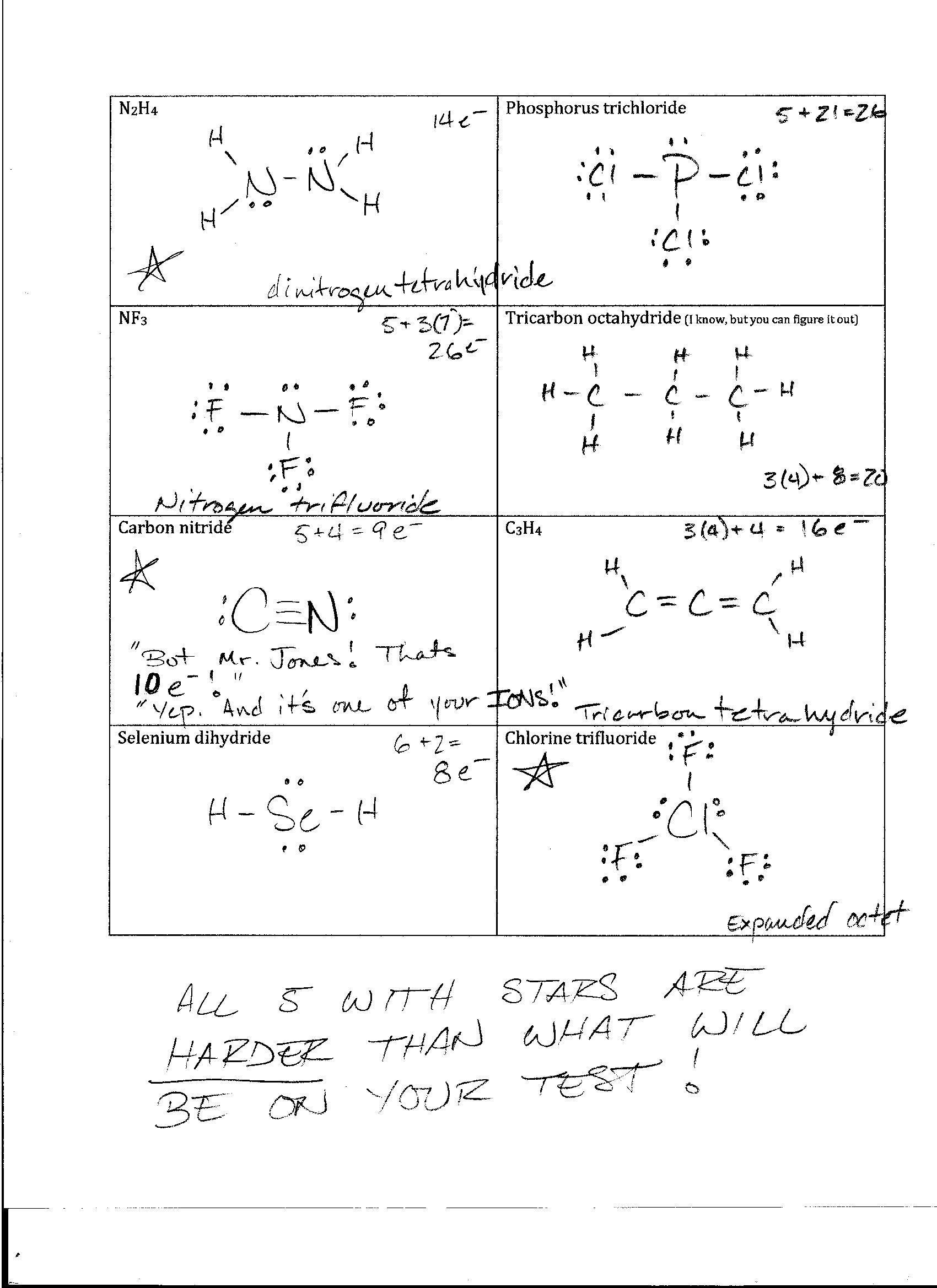 Lewis Dot Structure Worksheet 2 Answers