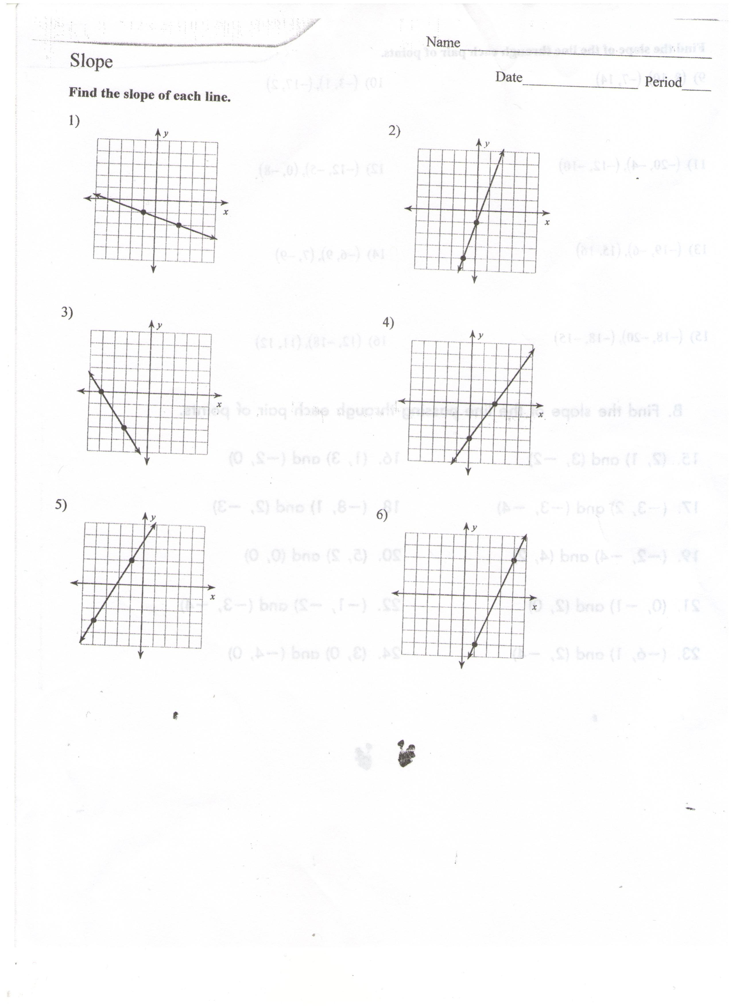Interpreting Slope Worksheet