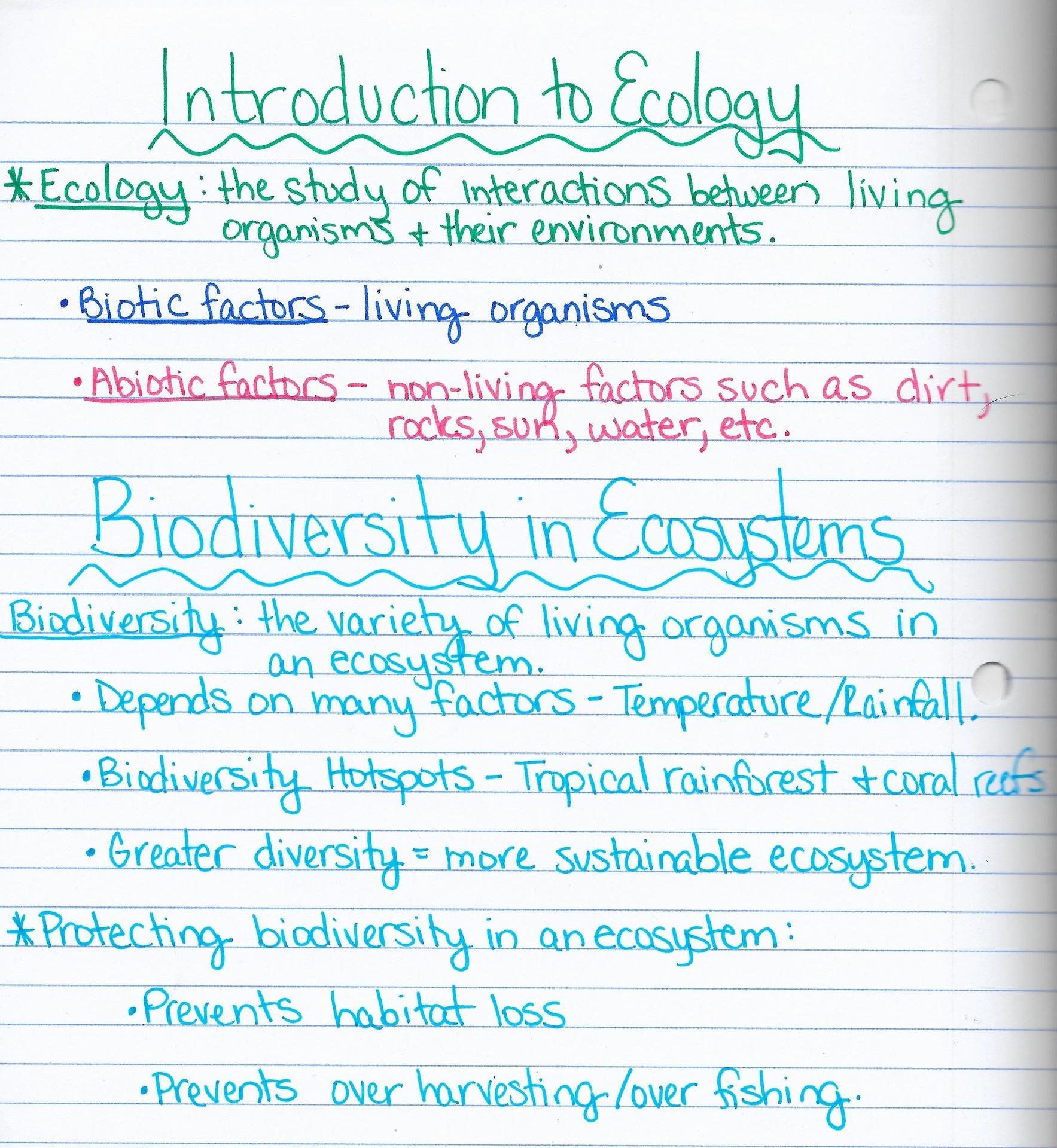 Ecology Unit Review Worksheet