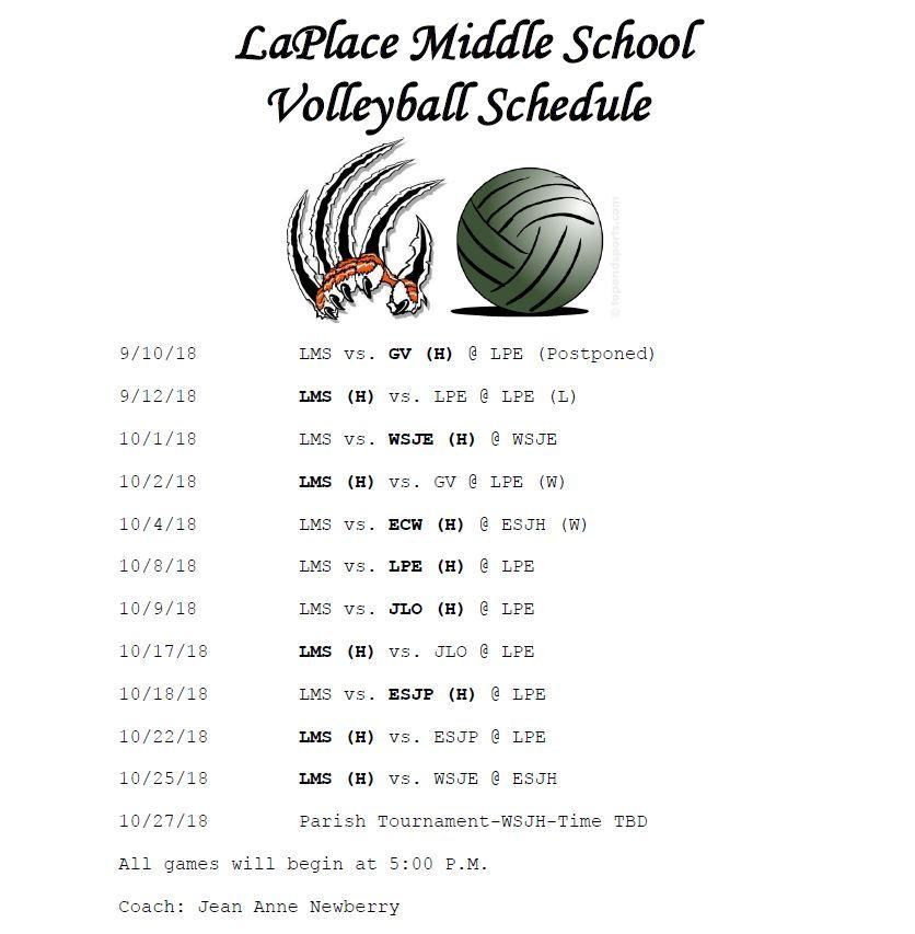 Schedule – Volleyball