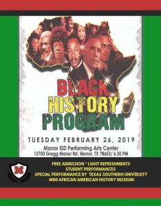 Black history program also manor excel academy rh meanorisd
