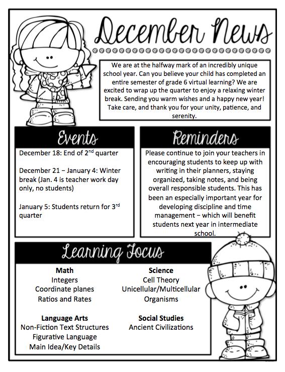 Newsletter – 6th Grade