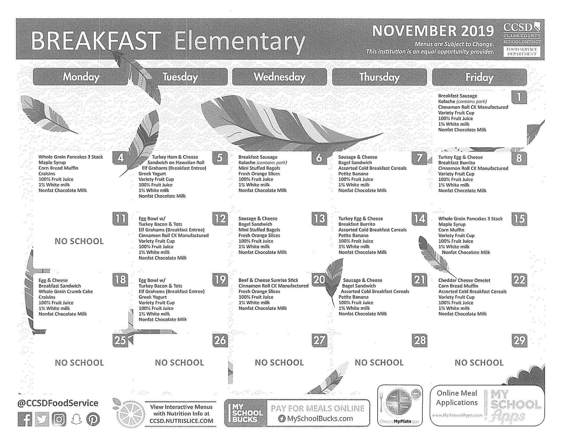 Breakfast Menu – Parents
