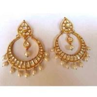 Fashion Kundan Earrings II - Chand Bali Earrings Polki in ...