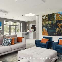 Living Room Contemporary Interiors Overhead Lighting New Build Georgian Style With Interior Open Plan Dining And A Kitchen Seating Ottoman Timber Flooring Artwork Pendant Ceiling To Floor Glass Cushions
