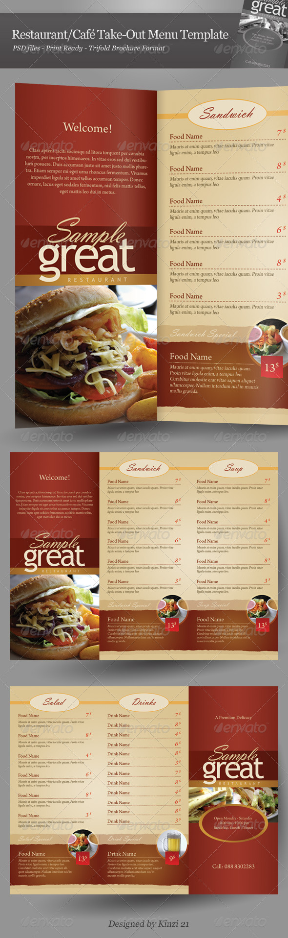 Restaurant / Cafe Take-out Menu Template