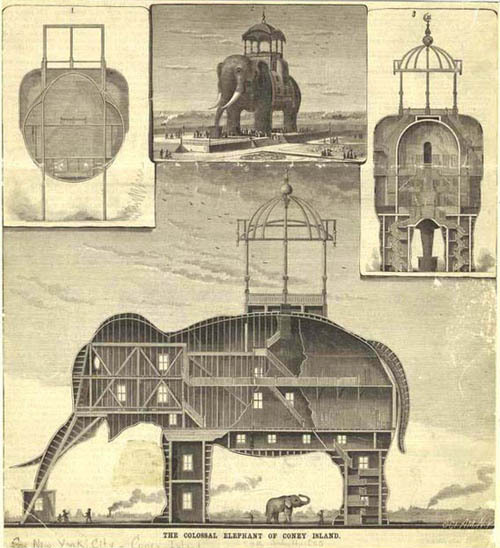 "paraxenos:  canadiansliveinigloos:  grieve-machine:  tarotwoman:  radioheartedkid:  readmorewikipedia:  The Coney Island Elephant was a hotel and brothel built in the shape of  an elephant, and located on Coney Island.In 1885, the Elephant Hotel,  also known as the Elephantine Colossus, was built by James V. Lafferty  and was 122 feet high with seven floors and had 31 rooms.The hotel  became associated with prostitution. This lead to the phrase ""going to  see the elephant"" being created, to mean going to see a prostitute. (three more pics)    How bizarre :/"