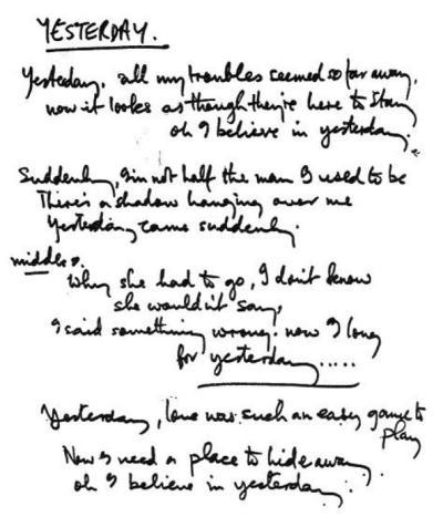 Mrs. Darcy loves.......: Beatles Handwritten Songs