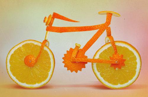 دراجة مصنوعة من قشر البرتقال