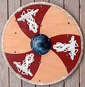 "n the Viking age, fighting men used large, round, wooden shields gripped in the center from behind an iron boss. A reproduction shield is shown to the left, and a historical shield from the Oseberg ship to the right. Shields represent one of several instances where the literary sources and archaeological sources do not agree on how Viking weapons were constructed. The Norwegian Gulaþing and Frostaþing laws specify the construction of a shield. The shield should be made of wood with three iron bands and a handle fastened to the back side by iron nails. A later revision of the law says that the shield should be made of a double layer of boards (tvibyrðr), and the front should be painted red and white.  A few shields have survived from the Viking age, notably the shields from the Gokstad ship, which date from the 10th century. The ship was equipped with 32 shields, several of which survive intact. They were made from a single layer of planks butted together, with no iron bands, and the fronts were painted black and yellow. Typical Viking shields were 80-90cm (32-36 inches) in diameter. Some were larger, such as the Gokstad shields, which were 94cm (37in) across. Based on surviving remnants, some of the smaller shields appear to have been as small as 70cm (28in) in diameter. All the surviving examples are made from solid butted planks, although literary evidence, such as the 10th century Frankish poem Waltharius, and the Gulaþing laws, suggests that shields were made of laminated wood. No archaeological evidence supports this style of construction during the Viking era in Norse lands. Surviving shields are made from spruce, fir, or pine. Again, literary evidence contradicts and suggests that shields were made with linden wood (Tilia, commonly known as basswood in North America). The word lind (linden) is used to mean ""shield"" in poems such as Völuspá , and the term lindiskjöldr (linden shield) is used in some sagas. Linden certainly has advantages over other species of wood for shield use. It is lightweight and does not split as readily under impact as do other types of wood. The Gokstad shields were approximately 7mm (1/4in) thick near the center and were chamfered so they were thinner at the edges. Most surviving shields are in the range between 6mm (1/4in) and 12mm (1/2in) thick, although shields thicker than 30mm (1-1/8in) have been found."