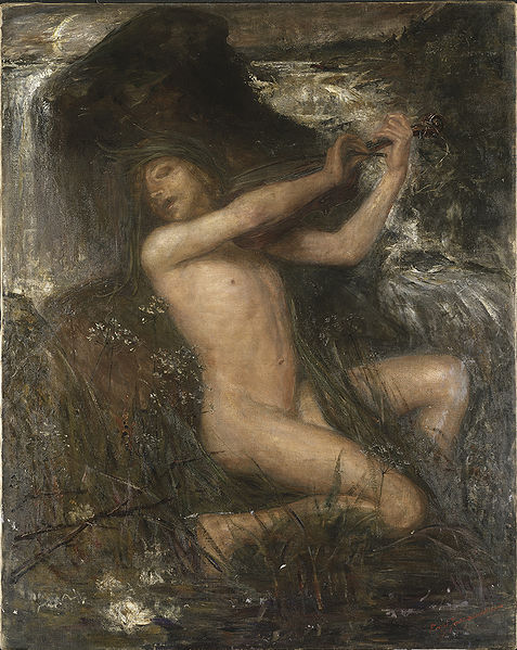 "The Scandinavian näck, näkki, nøkk, nøkken, strömkarl, Grim or Fosse-Grim were male water spirits who played enchanted songs on the violin, luring women and children todrown in lakes or streams. However, not all of these spirits were necessarily malevolent; in fact, many stories exist that indicate at the very least that Fossegrim were entirely harmless to their audience and attracted not only women and children, but men as well with their sweet songs. Stories also exist wherein the Fossegrim agreed to live with a human who had fallen in love with him, but many of these stories ended with the Fossegrim returning to his home, usually a nearby waterfall or brook. Fossegrim are said to grow despondent if they do not have free, regular contact with a water source. If properly approached, he will teach a musician to play so adeptly ""that the trees dance and waterfalls stop at his music.""  (Pic: Ernst Josephson - Näcken)"