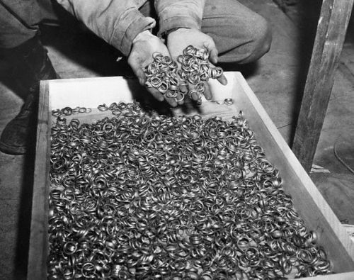 Germany, May 5, 1945.Wedding rings Nazis removed from their victims to salvage the gold near the Buchenwald concentration camp.